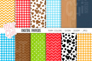 Farm Digital Papers Graphic Backgrounds By Mutchi Design
