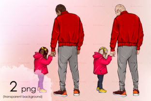 Father's Day Illustration Back View Art Graphic Illustrations By arctiumstudio