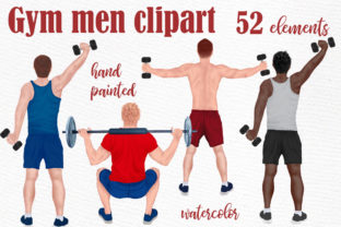 Print on Demand: Gym Boys Clipart Workout Clipart Graphic Illustrations By LeCoqDesign