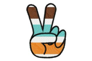 Hippie Peace Hand Striped Awareness Embroidery Design By Sew Terific Designs