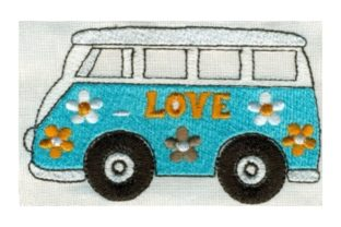 Hippie Van Transportation Embroidery Design By Sew Terific Designs