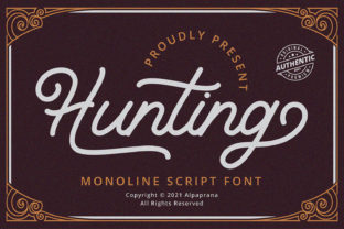 Print on Demand: Hunting Script & Handwritten Font By alpapranastudio