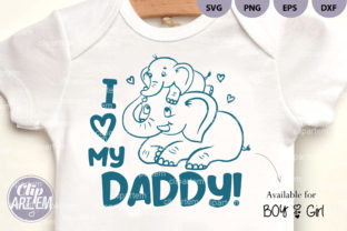 Print on Demand: I Love My Daddy Elephant Boy Girl Vector Graphic Illustrations By clipArtem