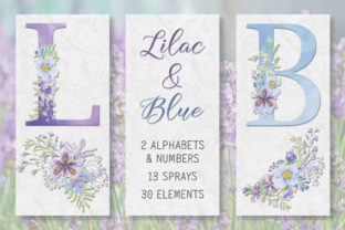 Lilac and Blue Floral Alphabet Graphic Objects By Lolly's Lane Shoppe