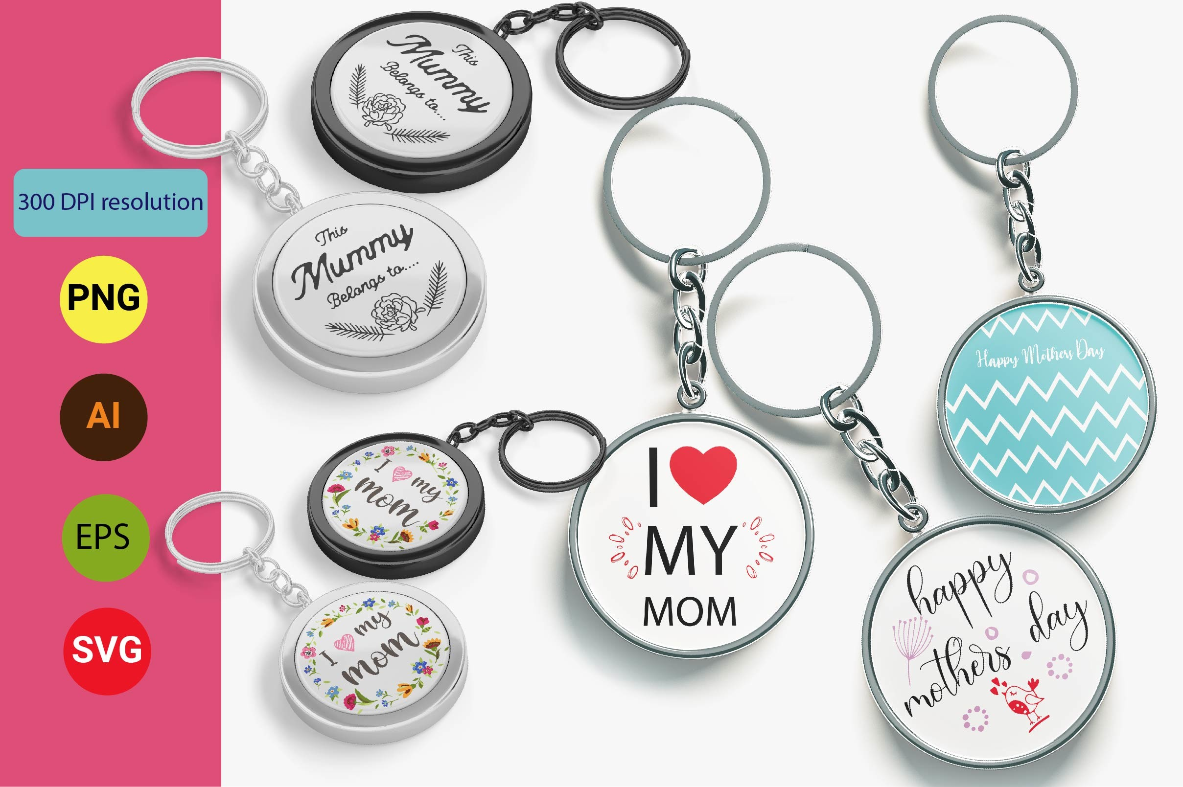 Mothers Day Keychain Design Template SVG File
