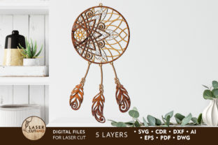Print on Demand: Multilayer Cut File DREAM CATCHER Graphic 3D SVG By LaserCutano