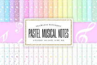 Print on Demand: Pastel Music Notes Seamless Patterns Graphic Patterns By Sabina Leja