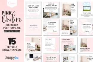 Print on Demand: Pink Ombre Instagram Canva Template Graphic Presentation Templates By SnapyBiz