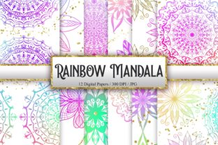 Print on Demand: Rainbow Mandala Glitter Background Graphic Backgrounds By PinkPearly
