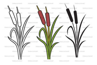 Reeds Silhouette Icon Graphic Illustrations By TribaliumArt