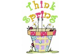 Sassy Think Spring Pot Outdoor Quotes Embroidery Design By Sew Terific Designs