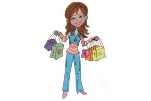 Shopping Girl Family & Friends Embroidery Design By Sew Terific Designs