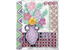 Spring Vase on Tile Bouquets & Bunches Embroidery Design By Sew Terific Designs