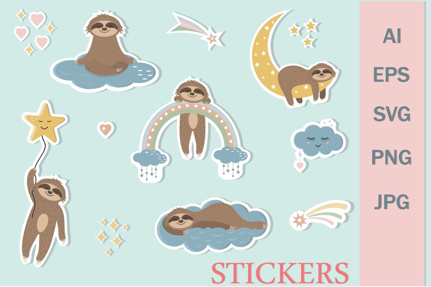 Stickers Cute Sloth Characters SVG File