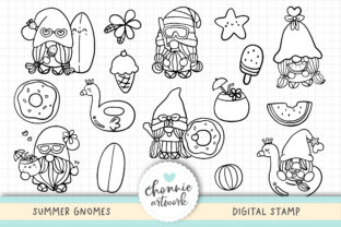 Print on Demand: Summer Gnomes Digital Stamps, Coloring Graphic Illustrations By Chonnieartwork