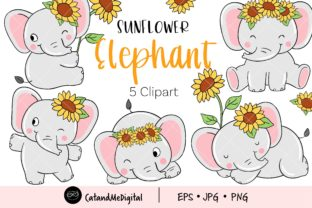 Sunflower Elephant Clipart Graphic Illustrations By CatAndMe