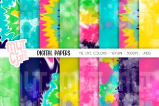 Tie Dye Colors Digital Paper Set Graphic Backgrounds By Mutchi Design