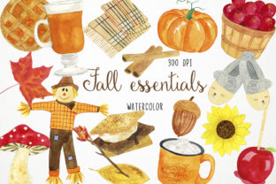 Watercolor Fall Clipart, Autumn Graphic Illustrations By Paulaparaula