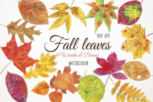 Watercolor Fall Leaves Clipart, Autumn Graphic Illustrations By Paulaparaula