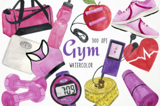 Watercolor Gym Clipart, Fitness Clipart Graphic Illustrations By Paulaparaula