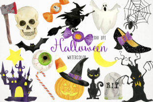 Watercolor Halloween Clipart, Spooky Graphic Illustrations By Paulaparaula