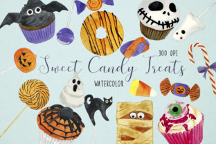Watercolor Halloween Sweets Clipart Graphic Illustrations By Paulaparaula