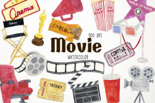 Watercolor Movie Clipart, Film Clipart Graphic Illustrations By Paulaparaula
