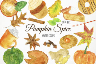 Watercolor Pumpkin Spice Clipart Graphic Illustrations By Paulaparaula