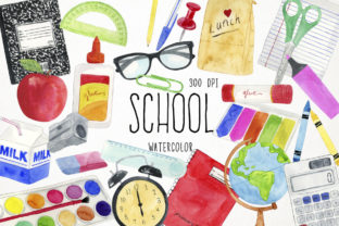 Watercolor School Clipart, Classroom Graphic Illustrations By Paulaparaula