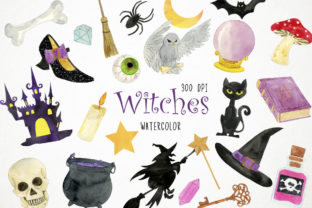Watercolor Witch Clipart Graphic Illustrations By Paulaparaula