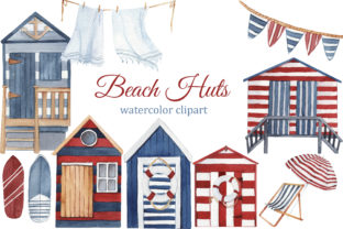 Print on Demand: Watercolor Beach Huts, Summer Clipart Graphic Illustrations By s.yanyeva