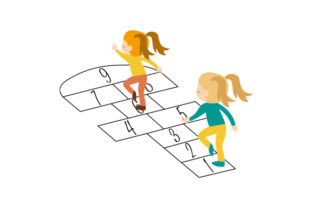 Children Playing Hopscotch Designs & Drawings Craft Cut File By Creative Fabrica Crafts
