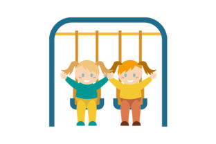 Children Playing on Swings Designs & Drawings Craft Cut File By Creative Fabrica Crafts