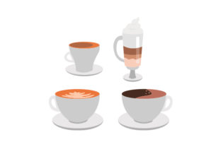 Different Types of Coffee Designs & Drawings Craft Cut File By Creative Fabrica Crafts