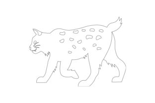 Black and White Line Art Bobcat Animals Craft Cut File By Creative Fabrica Crafts