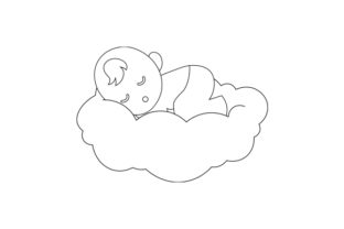 Baby Sleeping on a Cloud Line Art Baby Craft Cut File By Creative Fabrica Crafts