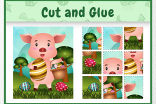 A Pig Easter Animal 5 - Cut and Glue Graphic 5th grade By wijayariko