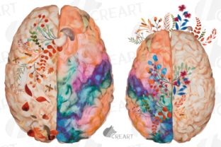 Print on Demand: Blooming Autumn Anatomical Brain Design Graphic Print Templates By CreartGraphics