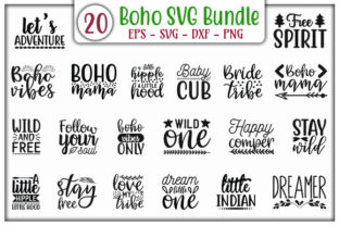 Print on Demand: Boho Quotes Design Bundle Graphic Print Templates By GraphicsBooth