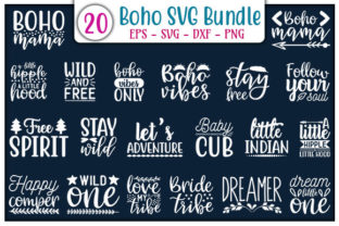 Print on Demand: Boho SVG Bundle Graphic Print Templates By GraphicsBooth