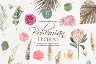 Boho Watercolor Floral Clipart Graphic Illustrations By lena-dorosh