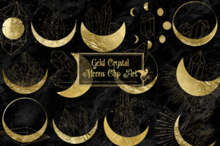 Print on Demand: Gold Crystal Moons Clipart Graphic Illustrations By Digital Curio