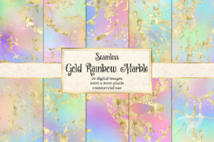 Print on Demand: Gold Rainbow Marble Textures Graphic Textures By Digital Curio