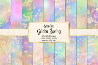 Print on Demand: Golden Spring Digital Paper Graphic Patterns By Digital Curio