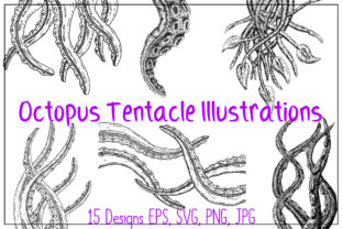 Print on Demand: Hand Drawn Cthulhu Octopus Tentacles SVG Graphic Illustrations By squeebcreative