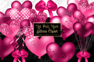 Print on Demand: Hot Pink Heart Balloons Clipart Graphic Illustrations By Digital Curio