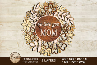 Print on Demand: Multilayer Cut File MOTHERS DAY Graphic 3D SVG By LaserCutano 1