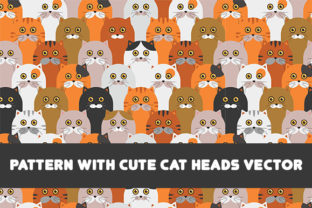 Print on Demand: Pattern with Cute Cat Heads Graphic Animals By Wilansa