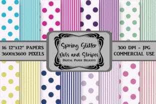 Print on Demand: Spring Glitter Dots and Stripes Paper Graphic Backgrounds By digitalpaperdelights