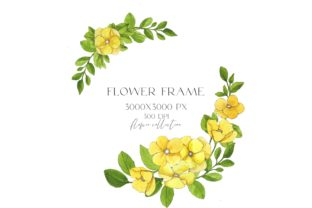 Watercolor Frame Yellow Flowers Png Graphic Illustrations By Julia Bogdan